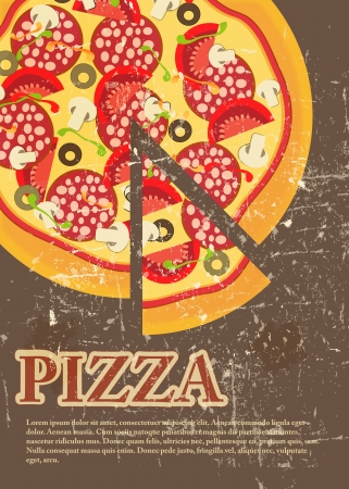 italian pizza: Pizza Menu Template in vintage retro grunge style
