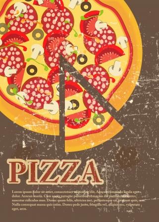 Pizza Menu Template in vintage retro grunge style
