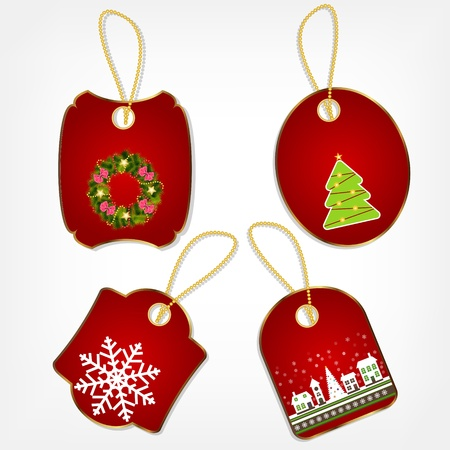Set of Christmas stickers vector illustration Stock Vector - 15400031