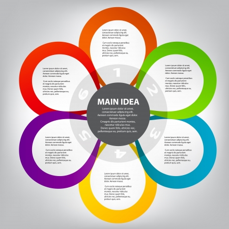 business process: Concept of colorful circular banners in flower form for differen Illustration