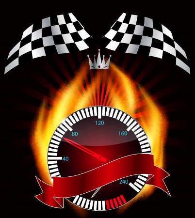 Checkered flag, speedometer  Vector Illustration