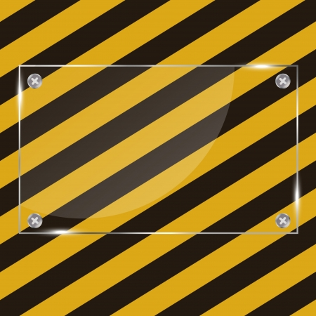 Glass frame on grunge striped construction background ill Vector