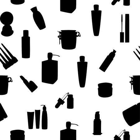 tuba: Wide range of cosmetic jars seamless pattern illustration