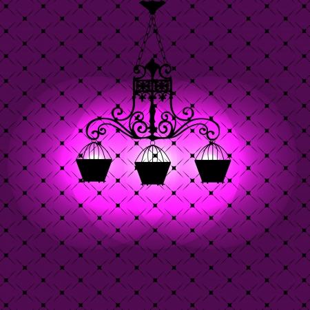 chandelier background: Vintage background with chandelier illustration