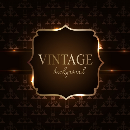 art deco background: Vintage background with golden frame illustration Stock Photo