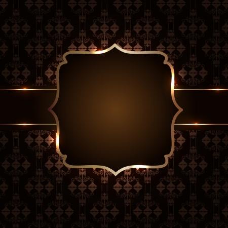 fita: Fundo do vintage com frame dourado ilustra