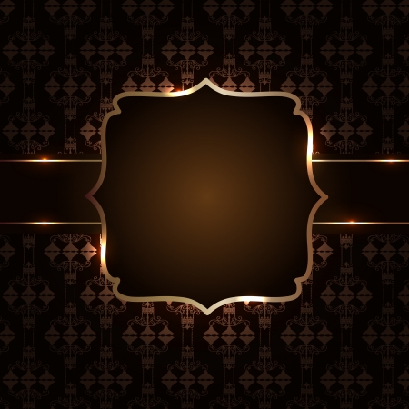 fashion design: Vintage background with golden frame illustration Illustration