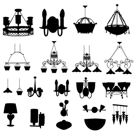 sconce: chandelier silhouette illustration Illustration