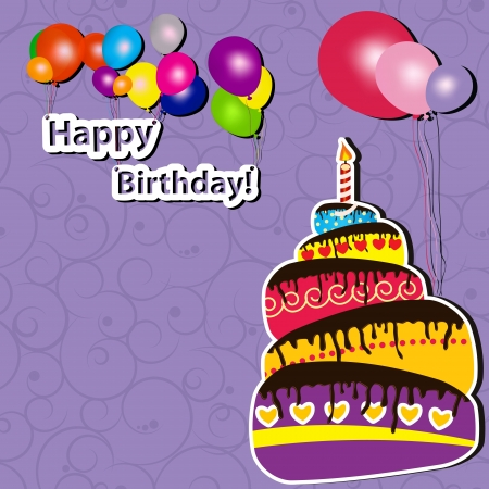 illustration of Birthday card with cake and balloons Vector