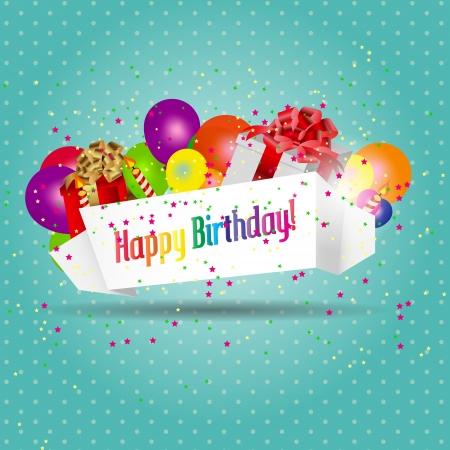 compleanno: illustrazione della carta di compleanno con torta e palloncini