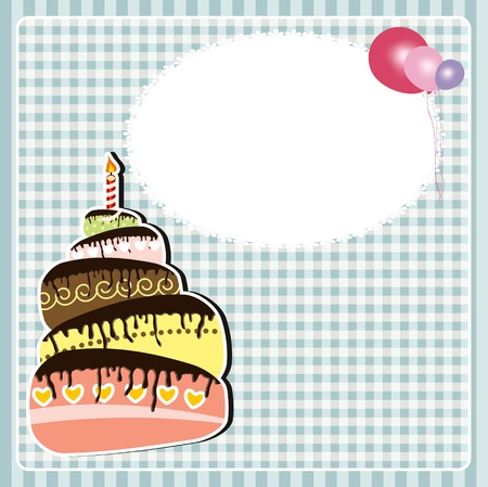 illustration of Birthday card with cake Vector