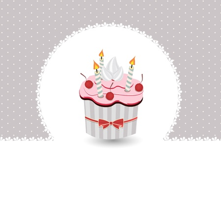 chocolate cupcake: illustration of Birthday card with cake
