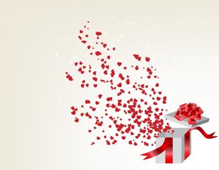 goldy: Abri? caja de regalo con corazones de vuelo, tarjetas de San Valent? ilustraci?ectorial