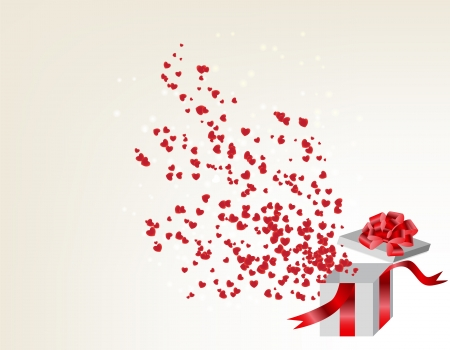 goldy: Opened gift box with flying hearts, Valentines card. vector illustration