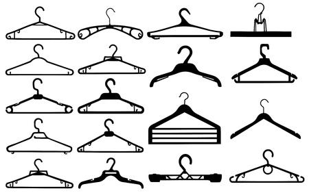 гардероб: Вешалка для одежды силуэт коллекции векторные иллюстрации. Иллюстрация