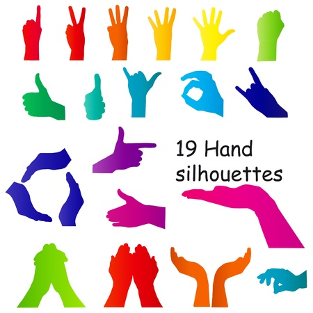 hand signal silhouettes on white. vector illustration. Stock Vector - 15991280