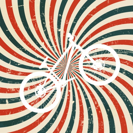 twirls: Abstract hypnotic retro background with bike. vector illustration.