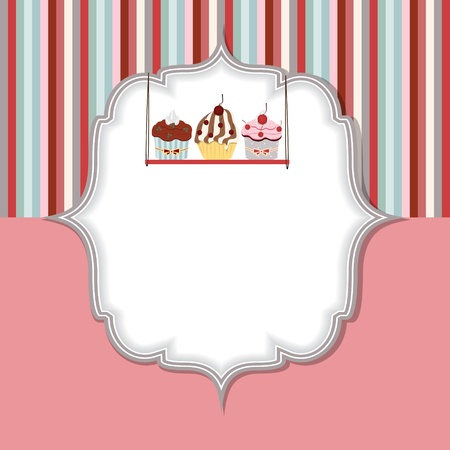 dessert muffin: Cupcake invitation card vector illustration