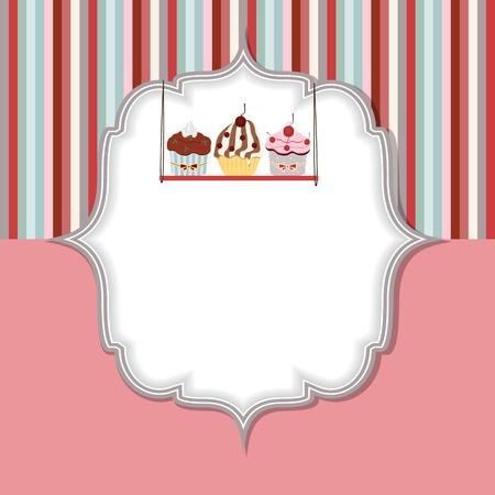 postre: Cupcake tarjeta de invitaci�n ilustraci�n vectorial Vectores
