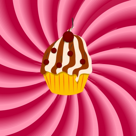 Strawberry, cream abstract hypnotic background with cupcake  vec Vector