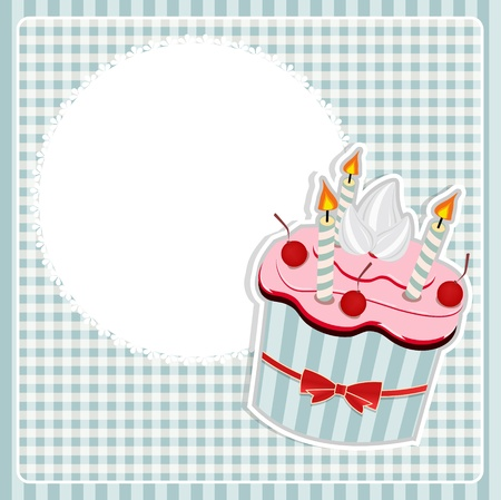 Vector illustration of Birthday card with cake. Vector