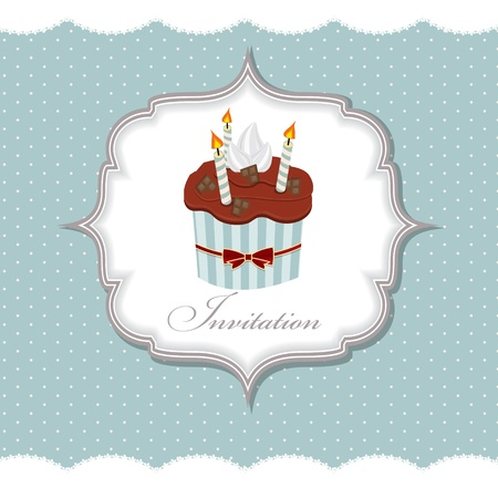 Cupcake invitation card vector illustration Stock Vector - 15991661