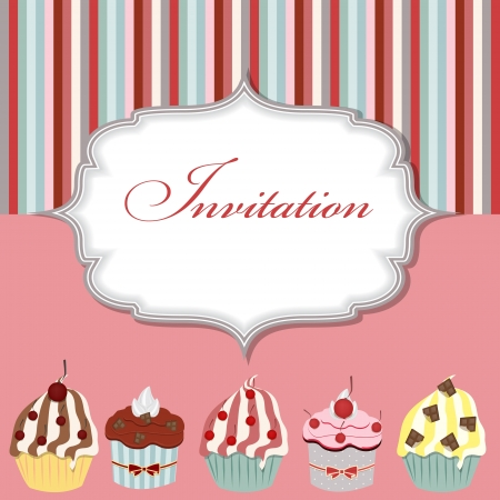 Cupcake illustration vectorielle carte d'invitation