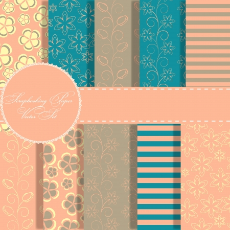 set of beaautiful vector paper for scrapbook photo
