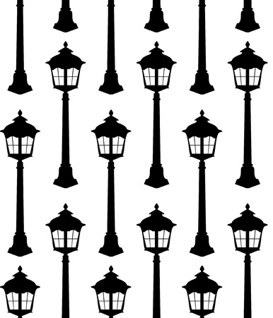 street lamp: Old lantern silhouette seamless pattern vector illustration