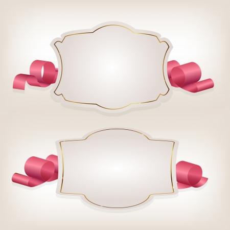 Romantische etiket met lint vetor illustratie Vector Illustratie