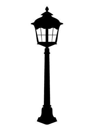 old street: Old lantern silhouette vector illustration Illustration
