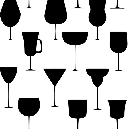 Alcoholic glass seamless pattern  illustration Vector