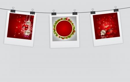 Instant Christmas  photos with clip illustration Vector