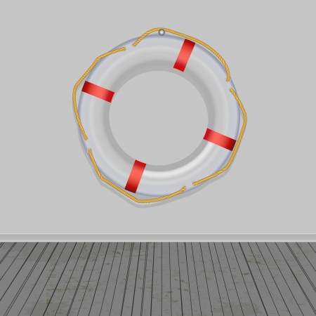 Life Buoy, boards Background, ropes, vector Illustration  Vector