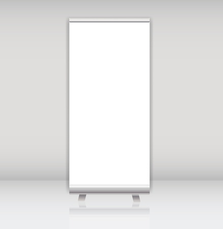 window display: Blank roll up banner display template for designers vector illus Illustration
