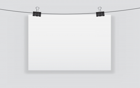 White blank page with clip illustration Vector