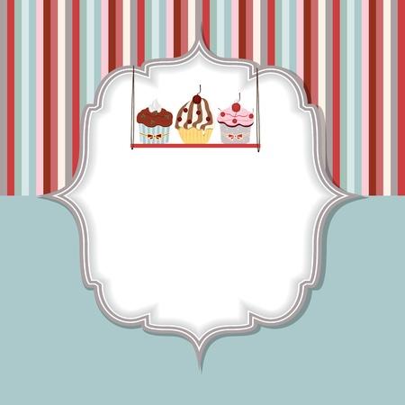 muffin: Cupcake invitation card vector illustration