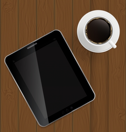 Abstract design tablet, coffee on boards Background Stock Vector - 16629864