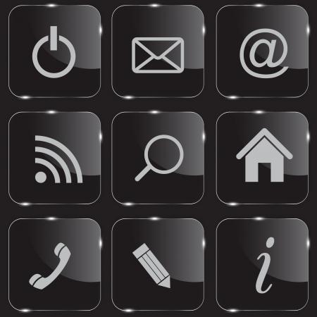 shiny buttons: Set of shiny glass web buttons vector illustration