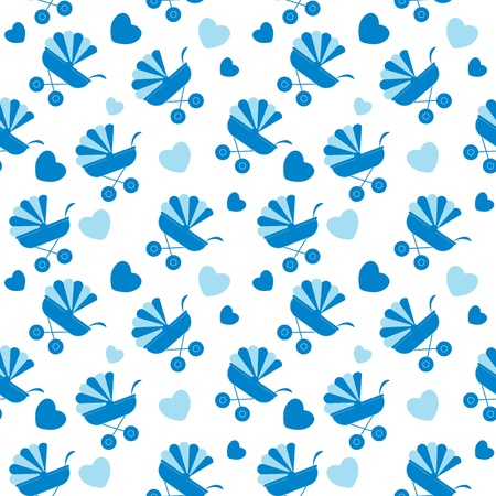 Seamless baby carriages pattern  vector background Vector