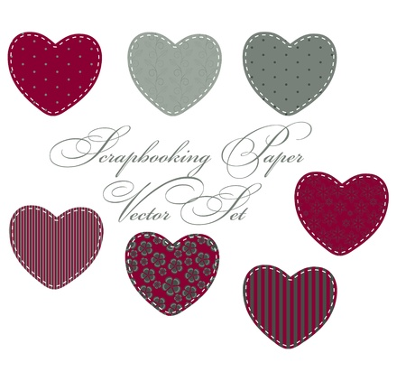 set of different hearts, design elements