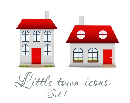 Little  town icons set  Vector illustration Stock Vector - 17064693