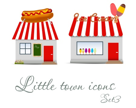 home deco: Little  town icons set  Vector illustration