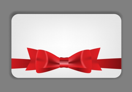 Holiday gift cards with red bow, ribbon and place for text  Vect Vector