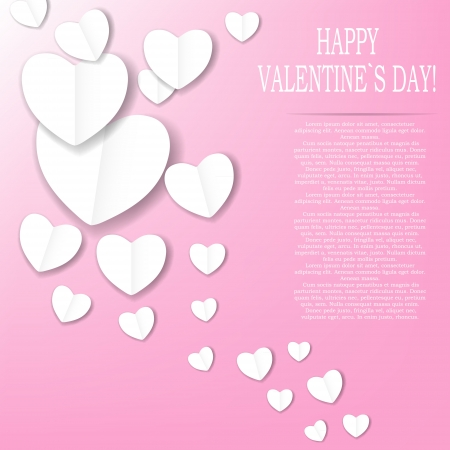 Valentines day paper heart backgroung, vector illustration Stock Vector - 17059342