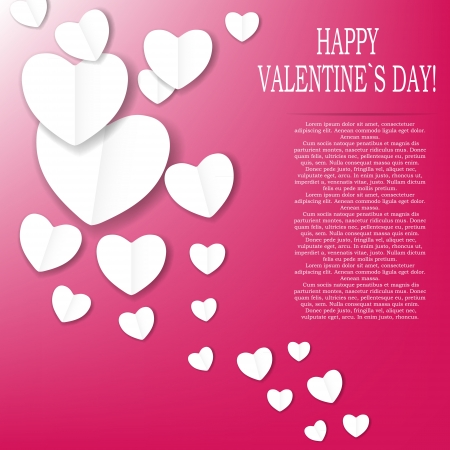 Valentines day paper heart backgroung, vector illustration Stock Vector - 17059343
