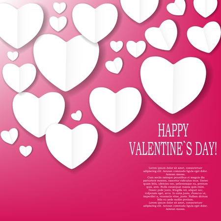 Valentines day paper heart backgroung, vector illustration Stock Vector - 17059341