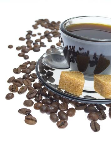 coffee beans, cup, Pots, cinnamon on dark background Stock Photo - 17059295