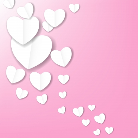 Valentines day paper heart backgroung, vector illustration Vector
