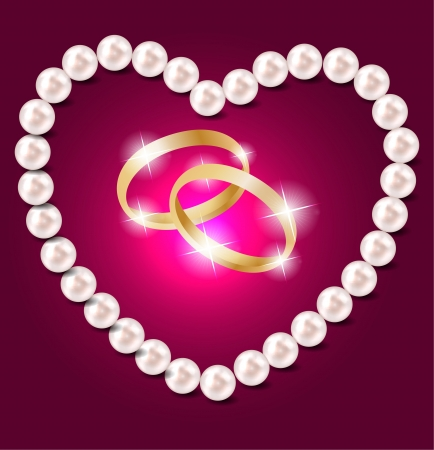 Pearl heart vector illustration background Vector